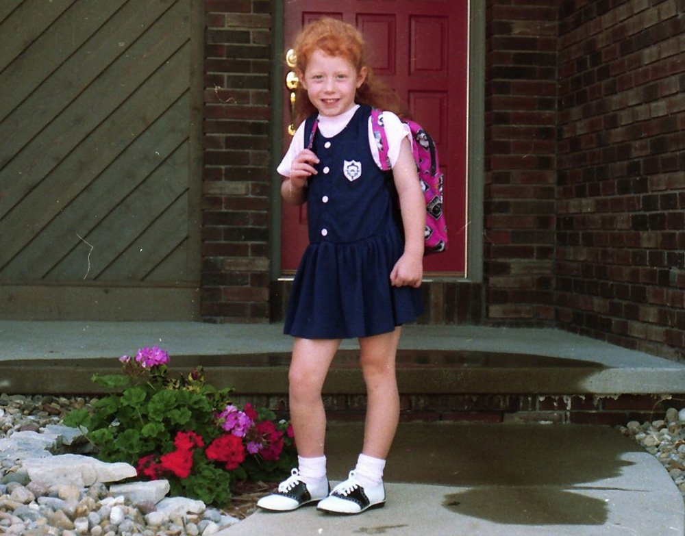 Katie first day of Kindergarten, 1991