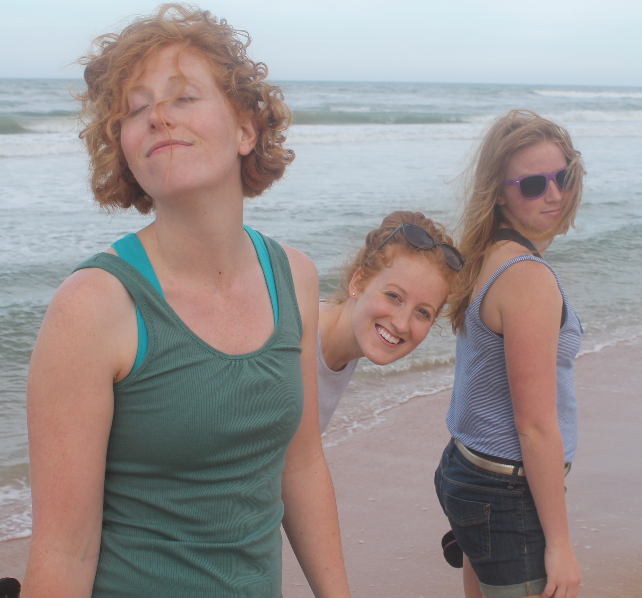 Girls silly at beach